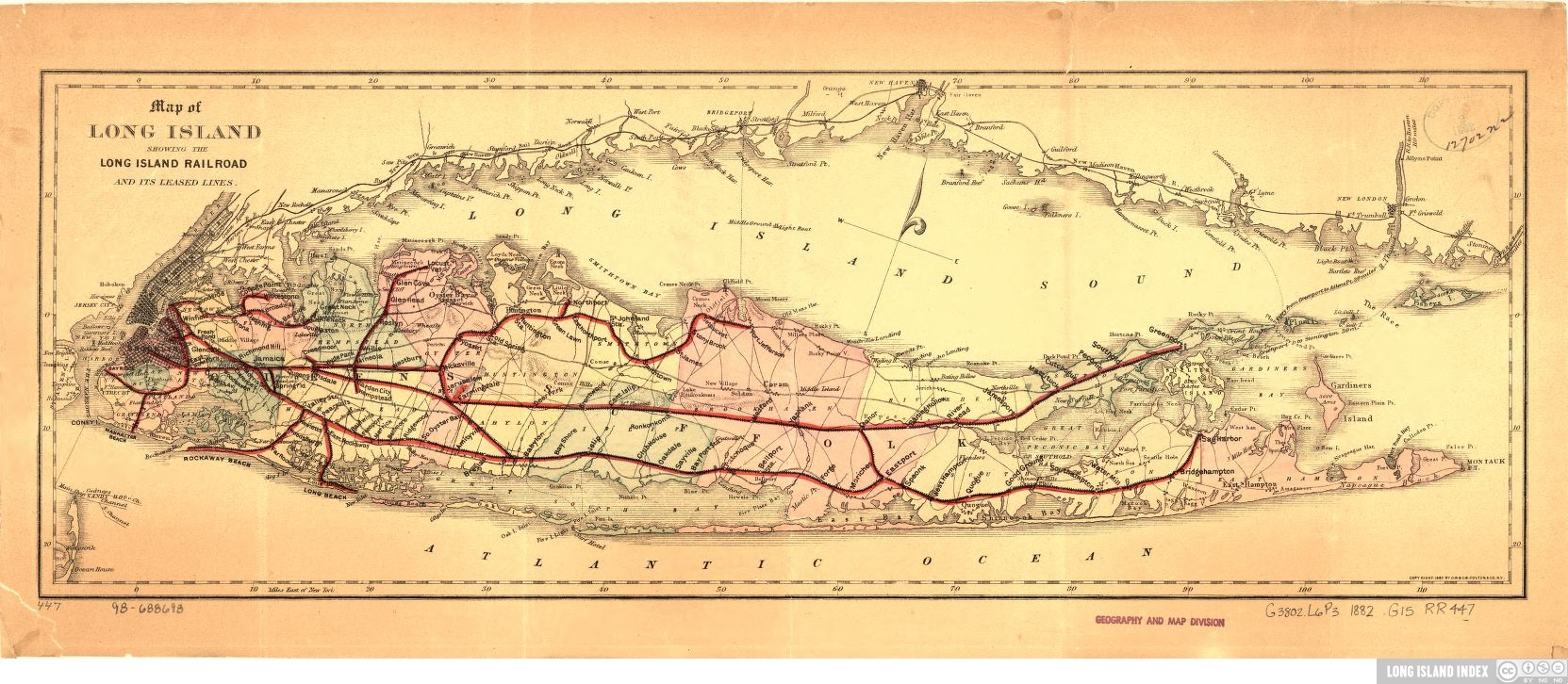 Historic Map of Long Island Rail Road - Long Island Index
